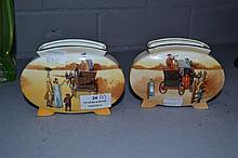 Pair of Royal Doulton Coaching Days squat vases,