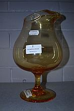 Asprey's Whitefriars amber jug, approx 27cm H