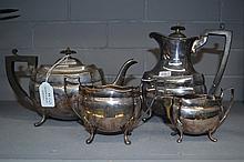 Four piece silver plate tea set (4)