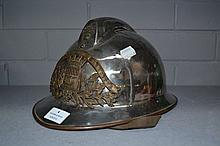 Antique French fireman's helmet with the Latin