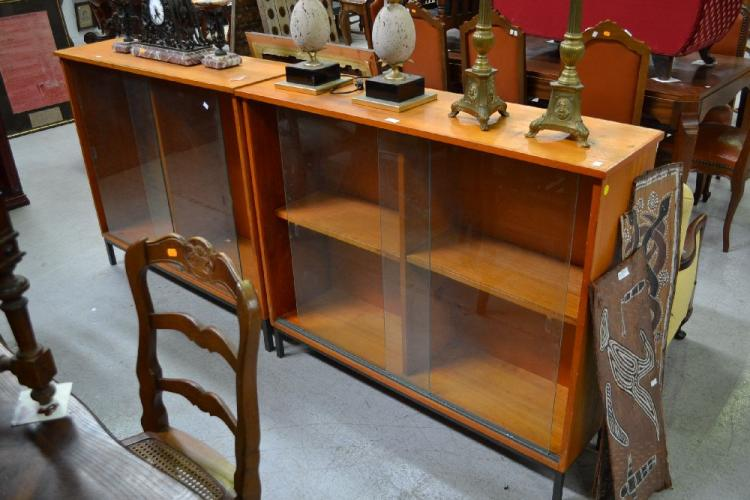 Pair Of Modern Display Cabinets Approx 108cm H X 121cm W X