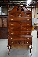 American Federal style chest on stand, approx