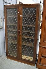 Cabinet with lead light glass doors, approx 155cm