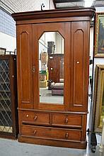 Antique Victorian cedar wardrobe, with single door