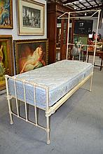 Antique metal half tester single bed and mattress