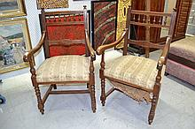 Pair of antique French Henri II armchairs (2)