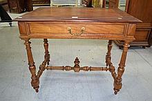 Antique French walnut desk, approx 74cm H x 90cm W