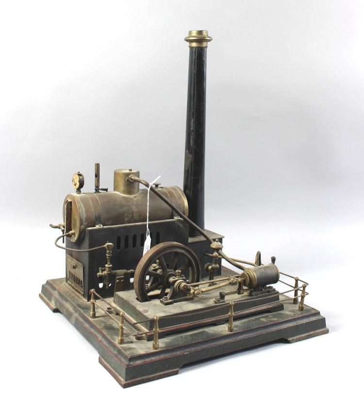 Antique Large Scale Model Stationary Steam Engine Retaining