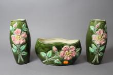 French jardiniere with a pair of matching vases, approx 25cm H and shorter (3)