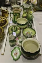 Good assortment of green and floral decorated porcelain to include jardinieres, jugs, dishes, lidded decanters, vases, etc approx 19cm H and shorter