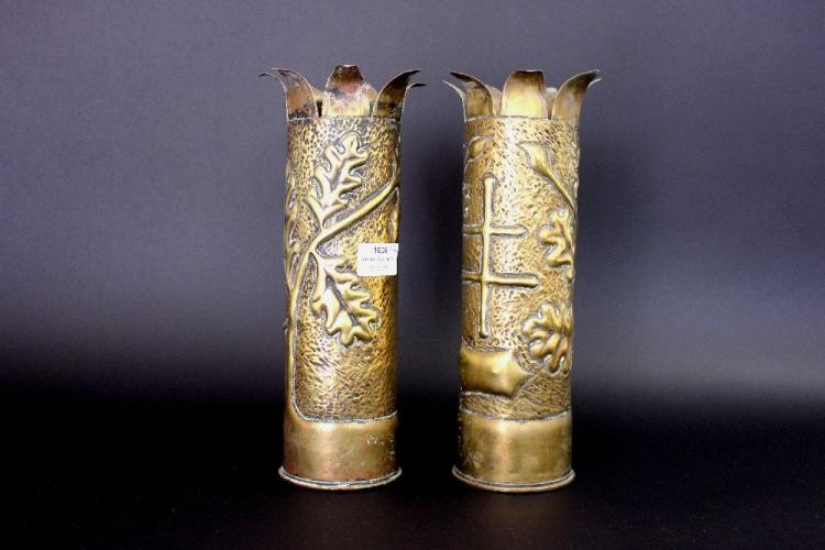 Pair of antique French WWI trench art vases, each approx 28cm H (2)