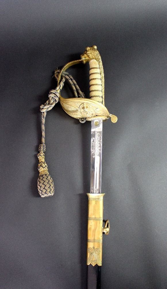 Superb Australian / British naval officer's sword with scabbard. Etched blade with King's crown so GVR or GVIR. Complete with correct sword knot.