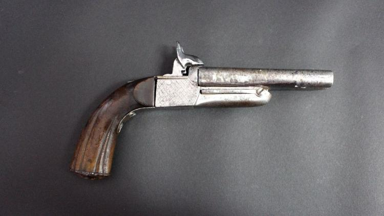 Antique French double barrel pin fire pistol of about 9mm calibre, fold out triggers.