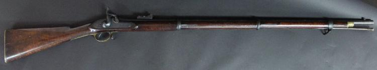 A quite good example of an antique British Pattern 1853 Infantry 3 band percussion rifle in .577 calibre, dated 1856.