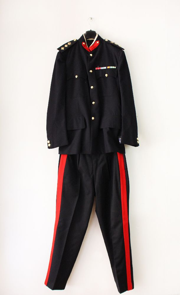Australian army staff officers blue dress uniform consisting of trousers and tunic with staff buttons, medal ribbons, collar tabs and rank insignia of a Colonel