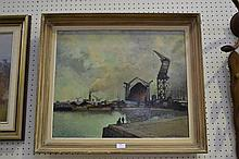 Oil on board harbour scene, signed lower right,