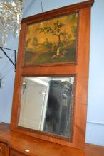 Vintage French trumeau mirror, fitted with a painted panel to the top, rural landscape, oil on canvas, approx 165cm H x 118cm W