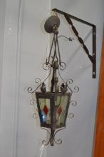 Vintage French hall lantern, fitted with leadlight panels