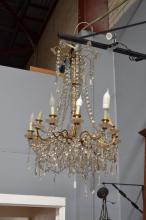 Fine impressive vintage French twelve light chandelier, with drop lustres and chains of beads in tiered design