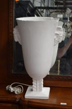 Plaster urn form lamp light, with Goats head handles, approx 55cm H