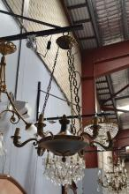 Vintage French Empire style six light chandelier, swan supports, green painted central bowl