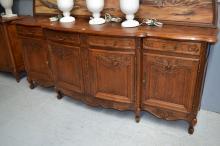 Vintage French oak Louis XV style four door enfilade buffet, approx 105cm H x 250cm W x 61cm D