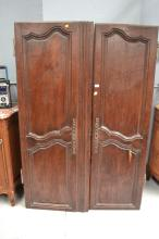 Pair of antique French doors, has key (in office), approx 186cm H x 57cm W & 69cm W (2)