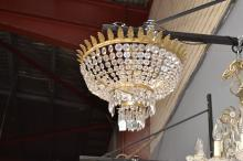 Vintage French Empire style basket form chandelier with tear drops and leaf capped rim, approx 46cm dia