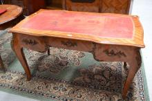 Vintage French red tooled leather topped three drawer desk. Bronze mounts, approx 78cm H x 138cm W x 80cm D