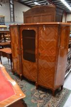 Vintage French floral marquetry three door bookcase, with central gilt lattice door, approx 171cm H x 184cm W x 50cm D
