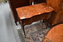 Vintage French Louis XV floral marquetry dressing table, approx 77cm H x 82cm W x 47cm D