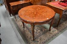 Vintage French floral marquetry shaped surround table, fitted with bronze mounts, approx 75cm H x 110cm dia
