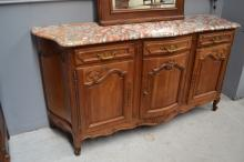 Vintage French Louis XV style three door enfilade, with thick marble top, approx 108cm H x 210cm W x 62cm D