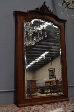 Antique French Louis XV style carved walnut mirror, with well carved C scroll crest, approx 168cm H x 104cm W