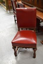 Set of six antique French Henri II carved walnut chairs, with red upholstered studded seats & backs (6)