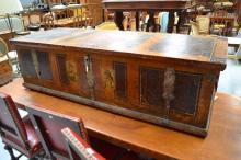 Large painted trunk, polychrome painted with faux timber grain & portraits within reserve. Continental, 19th century. Approx 48 cm H x 171 cm Wx 62 cm D