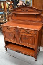 Antique French carved walnut Louis XV sideboard, with shaped back board, approx 166cm H x 121cm W x 54cm D