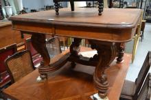Antique French oak Louis XV style table, with well carved legs and stretchers, approx 74cm H x 124cm W x 112cm D