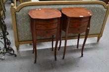 Pair of French parquetry three drawer nightstands, each approx 72cm H (2)