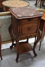 Antique French Louis XV style marble topped nightstand, approx 88cm H