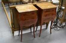 Pair of French parquetry marble topped nightstands, each approx 75cm H (2)