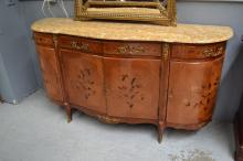 Vintage French marble topped floral marquetry enfilade buffet, approx 106cm H x 198cm W x 58cm D