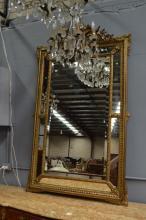 Antique French gilt surround cushion mirror, pierced scrolling crest, approx 180cm H x 106cm W