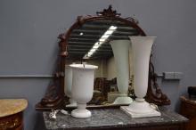 Antique carved walnut credenza mirror, approx 107cm H x 150cm W