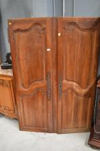 Pair of antique French doors, approx 182cm H x 59cm W & 68cm W (2)