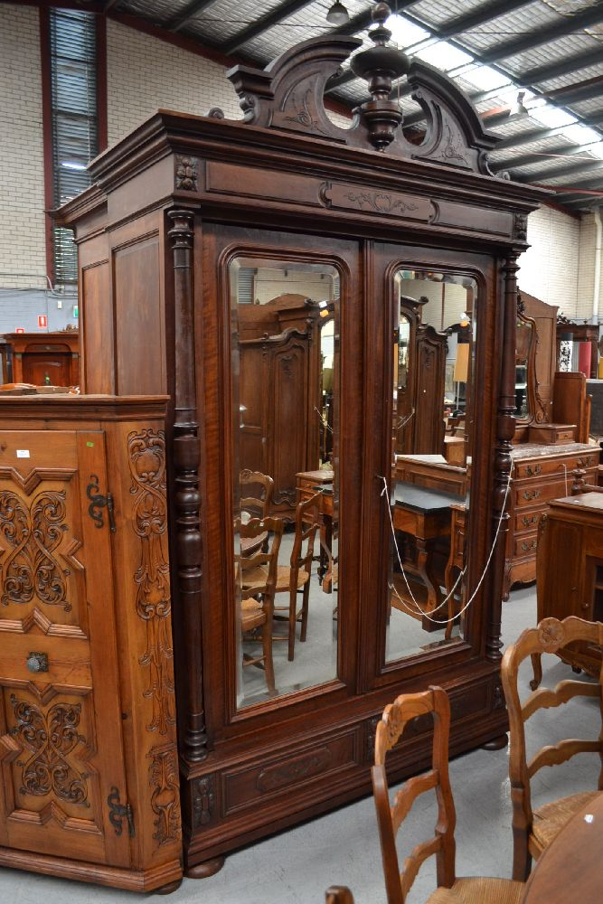 antique french walnut henri ii two door armoire with imposi. Black Bedroom Furniture Sets. Home Design Ideas