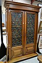 Antique French Henri II leadlight panelled two