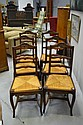 Set of six French Louis XV style rush seated