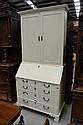 Antique Georgian English oak bureau bookcase,