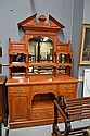 Antique late Victorian honey oak mirrored